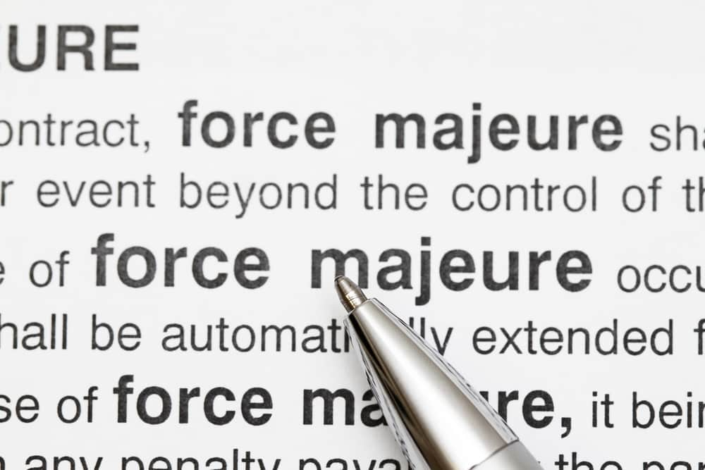 Force majeure contract clause