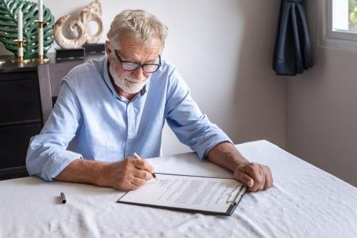 Man reviewing estate plan